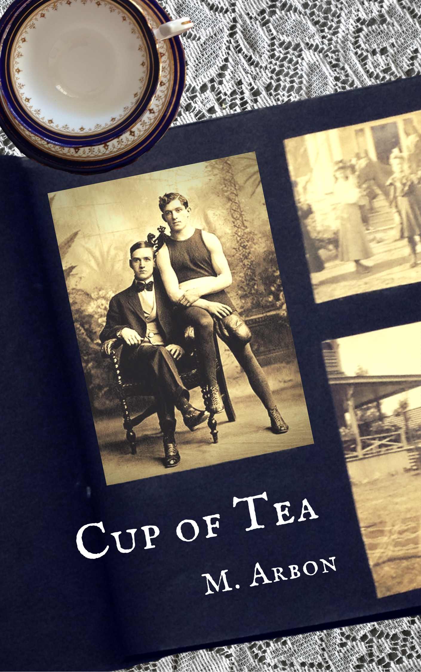Cover of Cup of Tea, showing a photograph album and teacup