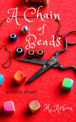 Book cover showing scissors and beads scattered on a red background