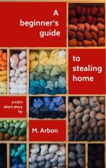Book cover showing colourful skeins of yarn on wooden shelves